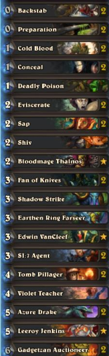 Sjow Miracle Rogue Hearthstone Deck