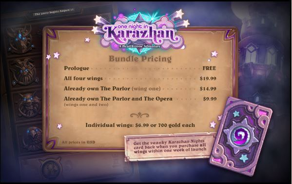 how much will one night in karazhan cost