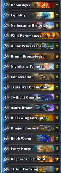 Sjow High Legend Karazhan Dragon Paladin Deck