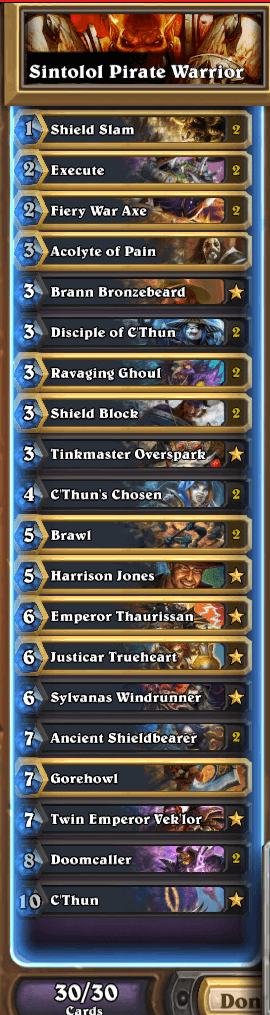 Fr0zen Last Call C'Thun Warrior Deck