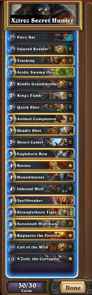 Fr0zen Last Call N'Zoth Hunter Deck