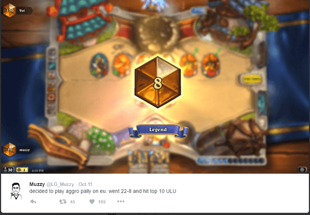 Muzzy Top 10 Legend EU Aggro Paladin