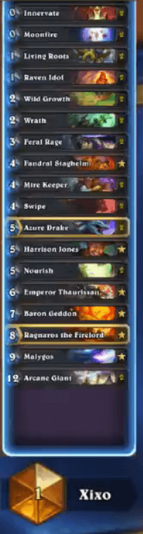 Xixo Rank 1 Legend Malygos Druid Deck Oct 16