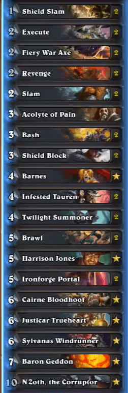 MrYagut Heroic Tavern Brawl 12 Win N'Zoth Warrior Deck