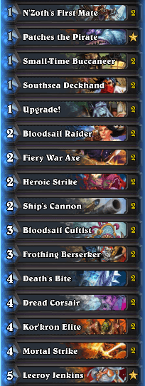 Best Wild Decks January 17 Pirate Warrior
