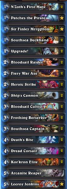 Wild Tier List May 2017 Pirate Warrior